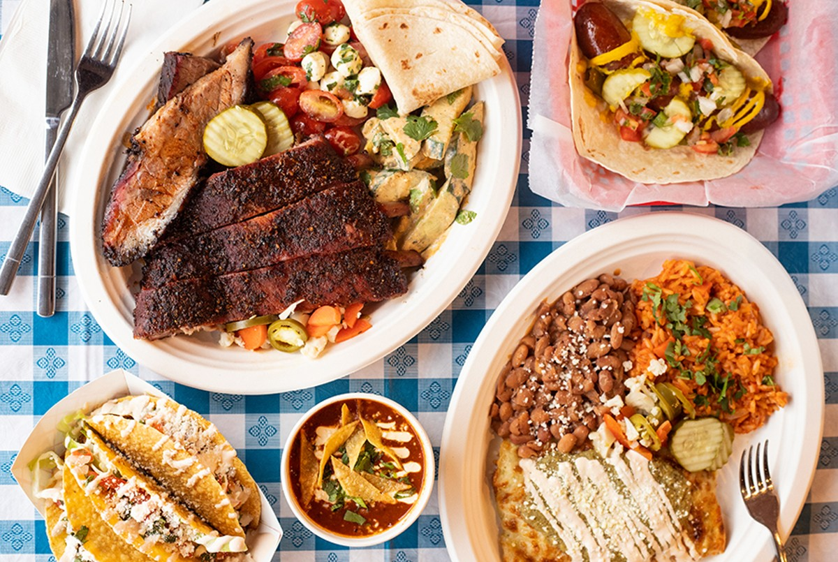 A selection of items from Original J's: a two-meat combo platter, Texas-style hot links, Mom Taco, brisket chili and chicken enchiladas.