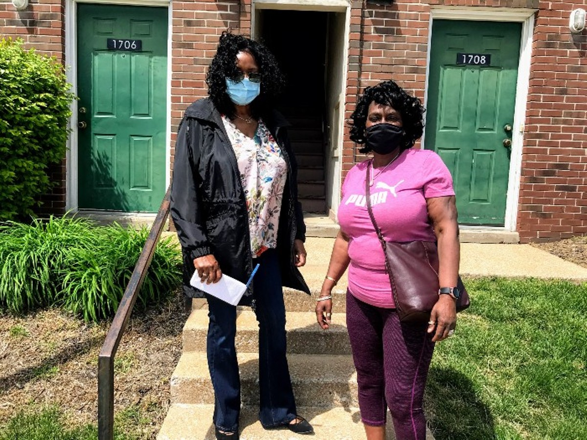 Journalist Denise Hollinshed, left, has been writing about Beverly Jones for the 63106 Project.