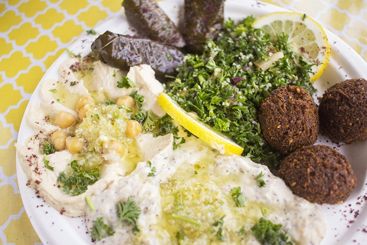 The vegetarian platter at Shawarma King features hummus, baba ganoush, falafel and tabbouleh.