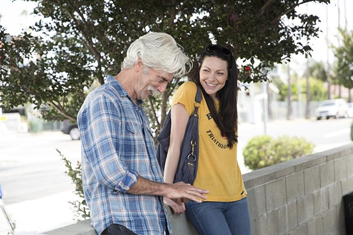 Sam Elliott and Laura Prepon share a brief moment in The Hero.