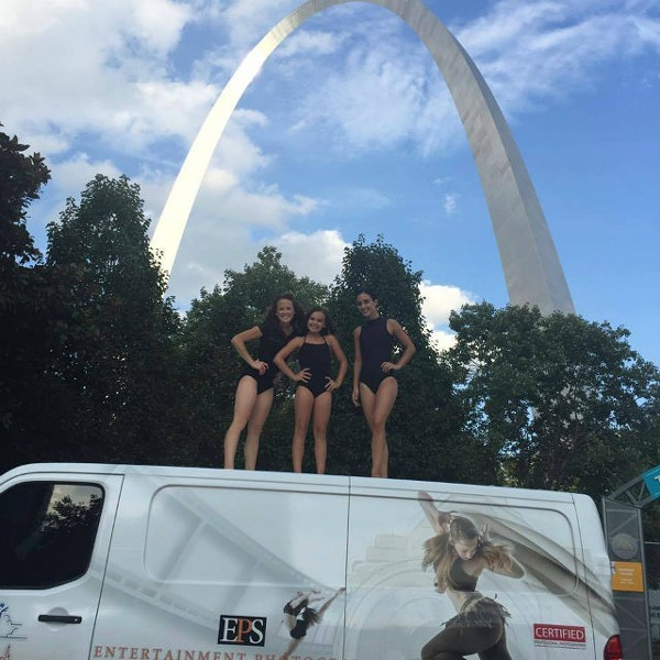 """St. Louis dancers Sarah Svoboda, Joselyn Green and Cora Tyler stand on """"Mighty Buford,"""" the van that photographer Jonathan Givens used in his cross-country travels. - PHOTO COURTESY OF SARAH SVOBODA."""