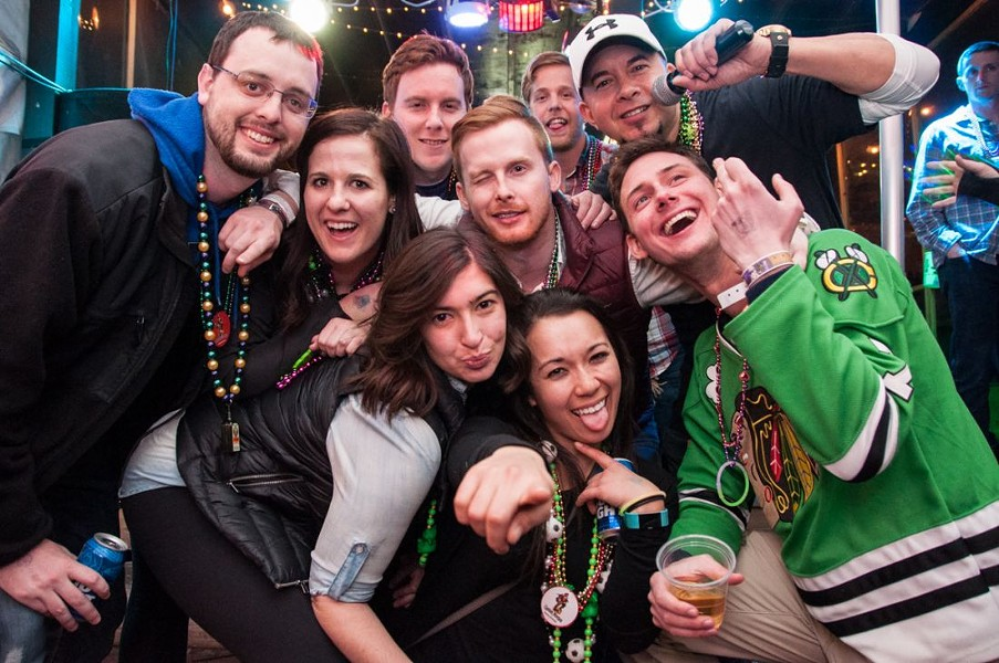 Revelers at Mollys in Soulard are ready for the party to begin. - MICAH USHER