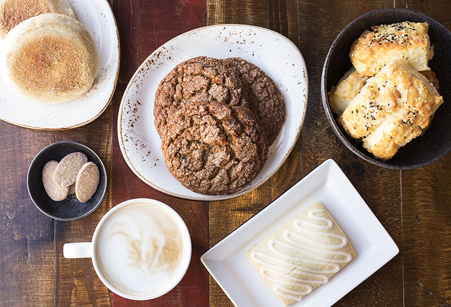 Baked goods include (clockwise from top left): English muffins, triple-ginger cookies, seeded biscuits, pop tart and biscochitos. - MABEL SUEN