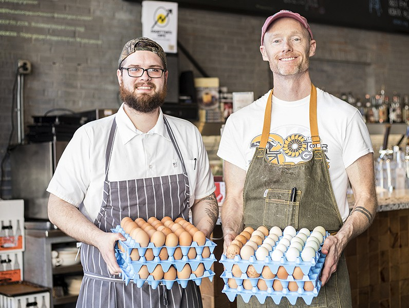 Sous chef Justin Bell and chef Rob Connoley keep things farm-fresh. - MABEL SUEN