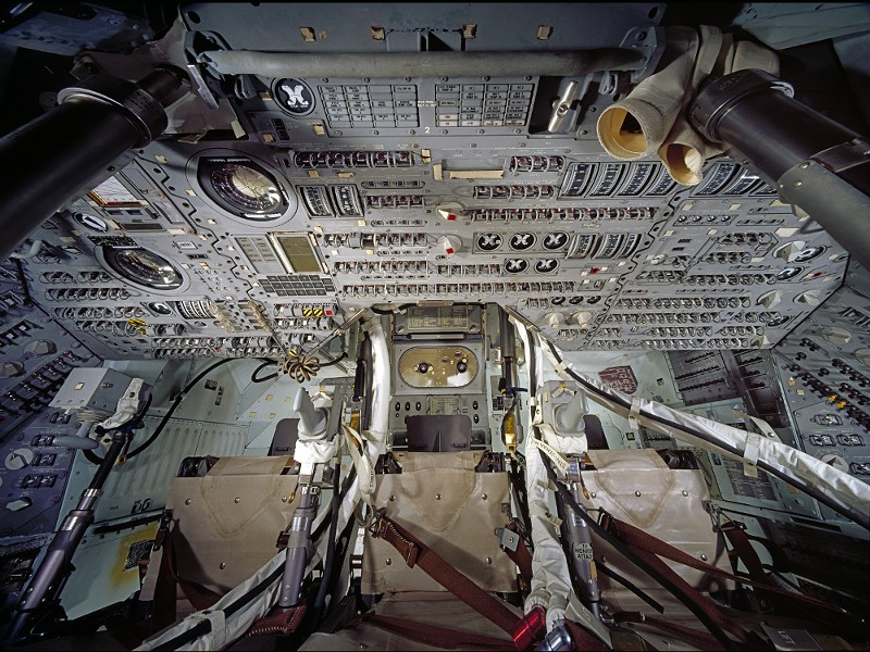 The inside of the Apollo command module - PHOTO COURTESY OF THE ST. LOUIS SCIENCE CENTER