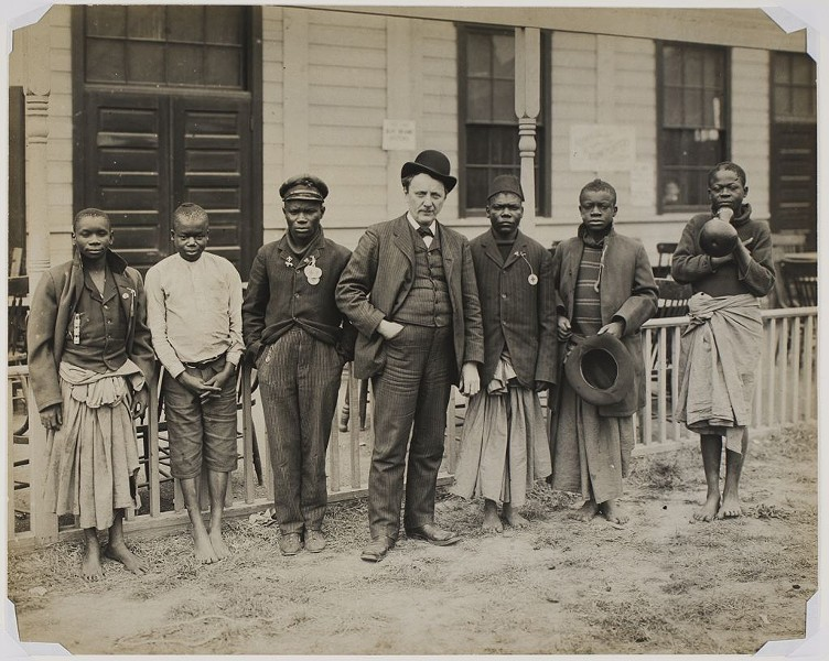 "Samuel Phillips Verner (center) with random Africans he bought at the behest of Louisiana Purchase Exposition and passed off as ""pygmies"" at World's Fair. - LIBRARY OF CONGRESS"