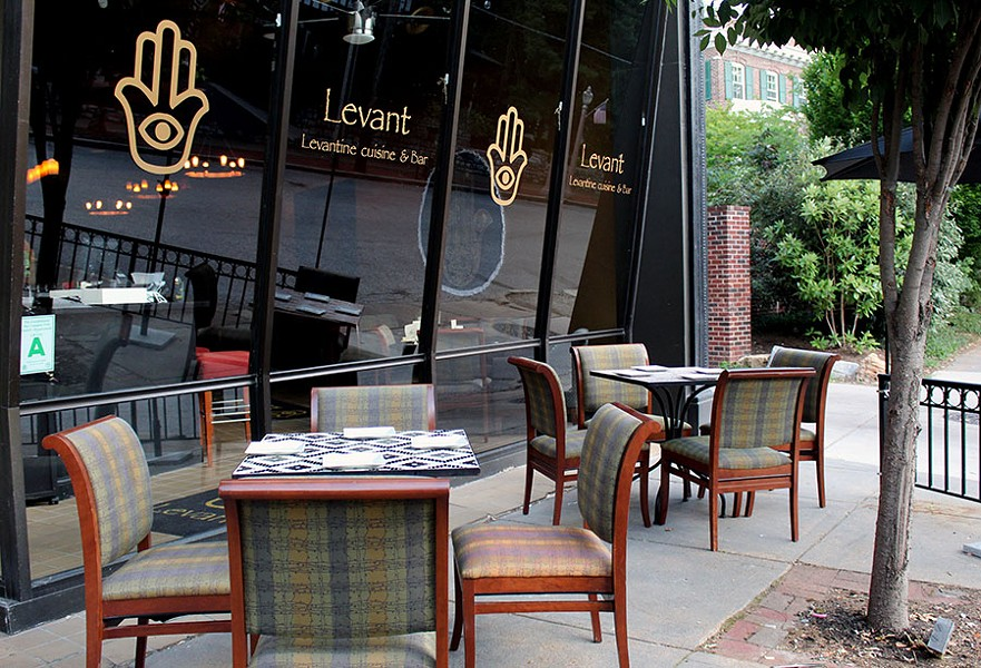 The outdoor patio where guests can enjoy dinner or do hookah in the evenings. - LEXIE MILLER