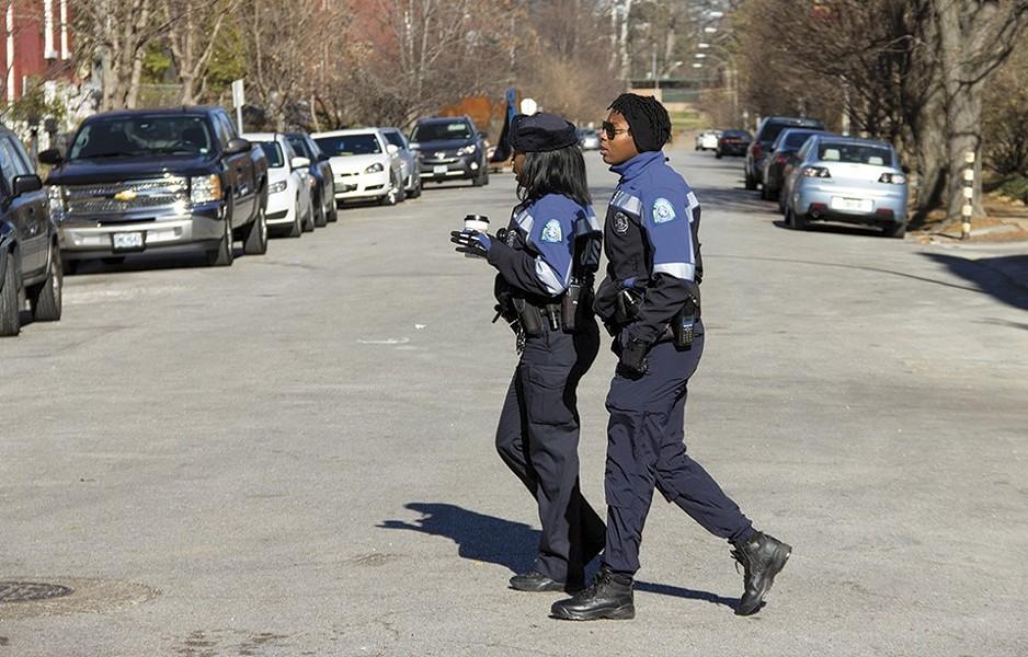Devin Guajardo, right, and Jazmon Garrett serve as police anchors on Cherokee Street. - DANNY WICENTOWSKI