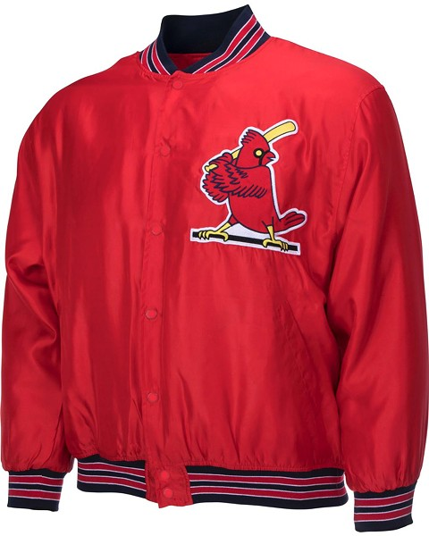 The cardinal-at-bat logo is the 1956-1966 era, but that jacket's styling is strictly 1980s.