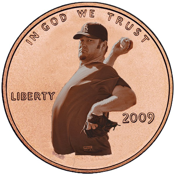 "Brad ""Penny"" Penny asks: Does this penny make my gut look big?"