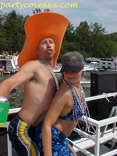 Maybe this duo will think twice before jumping in the lake for a swim. Then again, maybe not. - PHOTO: PARTYCOVEPICS.COM (SITE IS VERY, VERY NSFW)