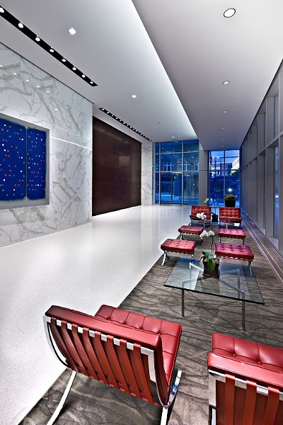 The Lobby of 600 Washington Ave, showing the new Modernist interior. - COURTESY OF FORUM STUDIO