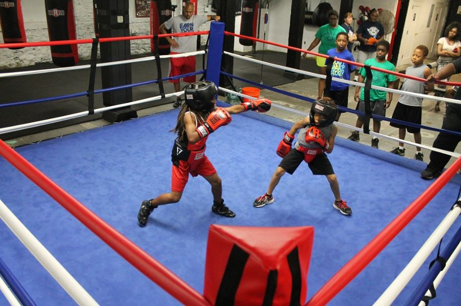 DeMarcus Murphy and Marcus Luther in a friendly spar at STL All City Boxing. - RAY DOWNS