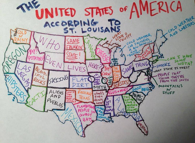 A map of the U.S. as seen by St. Louis. - ST. LOUIS MEMES