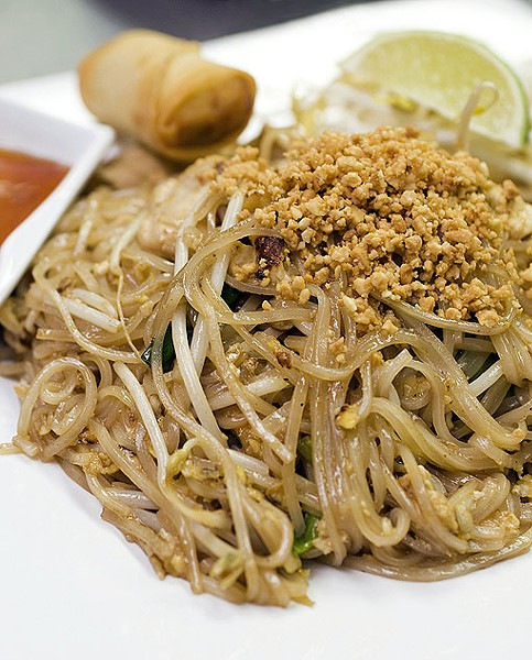 The always reliable Pahd Thai - rice noodles with eggs, tofu, bean sprouts, green onions & peanuts and your choice of meat... as always. See a photo slideshow here. - PHOTO: JENNIFER SILVERBERG