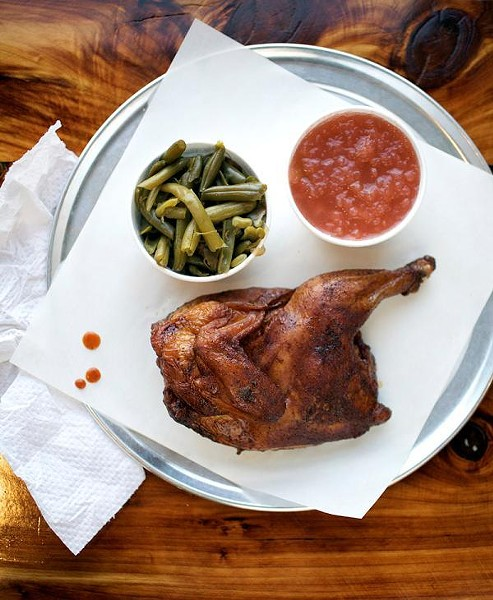 The smoked chicken, with green beans and applesauce, at PM BBQ - JENNIFER SILVERBERG