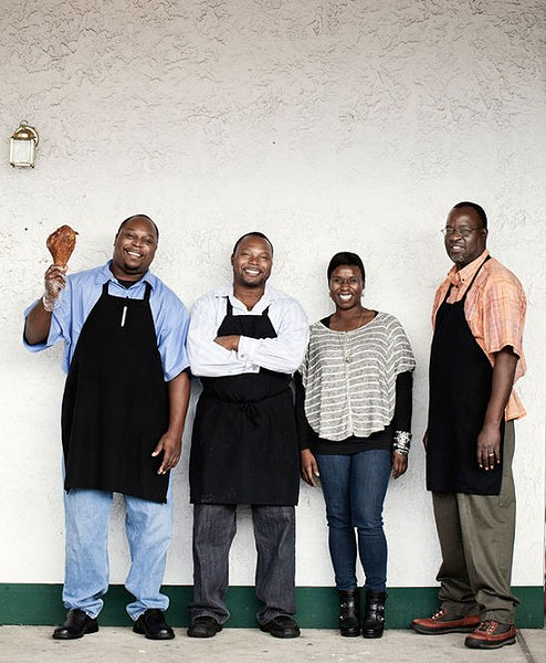 Family-owned Gobble Stop Smokehouse is: co-owners DeMones and DeMarco Howard; head of PR and marketing, Mika Howard; and cook Michael Williams. - JENNIFER SILVERBERG