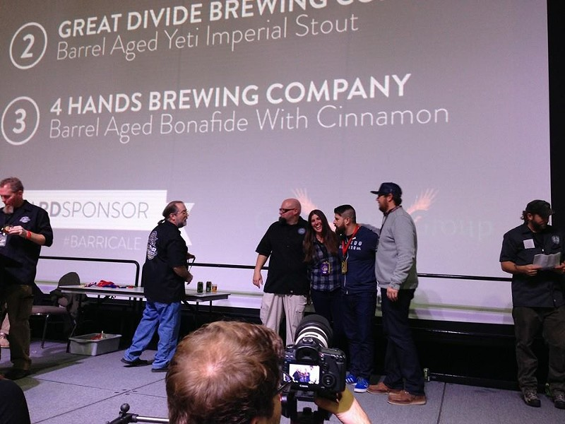 4 Hands accepts medal for the Barrel Aged Bona Fide with Cinnamon. - STEPHEN SALAS
