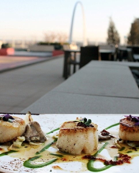 Seared sea scallops with fennel apple salad, oyster mushroom and vanilla bean agro dolce. | Sara Graham