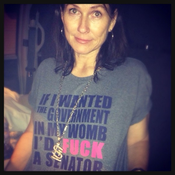 Kelley Deal of the Breeders, repping St. Louis (and women's rights) in 2012 - PHOTO BY JAIME LEES