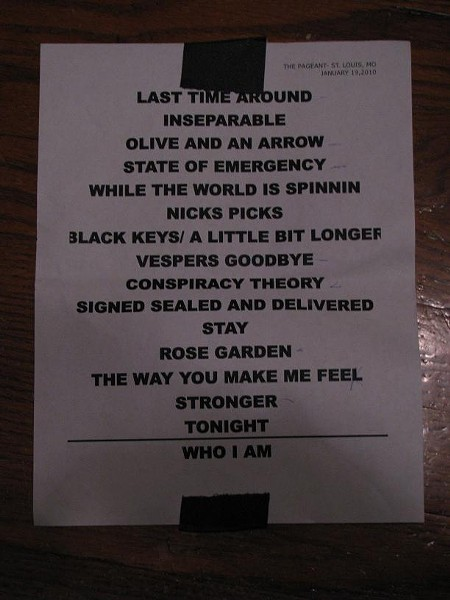 The St. Louis setlist. Notice the song near the end that wasn't played, but was originally supposed to be. - ANNIE ZALESKI