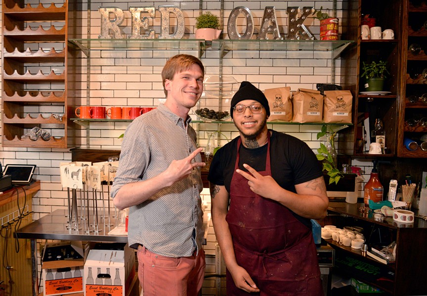 Derek Schulze and Josh Akers of Red Oak Biscuits are investing heavily into the Washington Avenue neighborhood in the form of three new restaurants and one event venue. - TOM HELLAUER