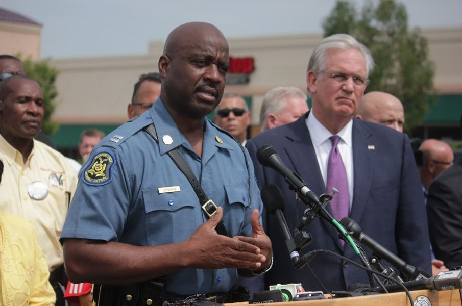 Captain Ron Johnson, shown here during a press conference on August 15, 2014, was handed the reins to the Ferguson command after nights of unrest. - DANNY WICENTOWSKI
