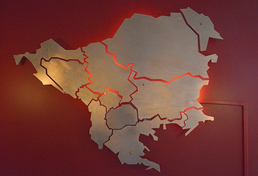The Nalics hand made this art installation of the Balkan states. It is the same graphic on the food truck. - TOM HELLAUER