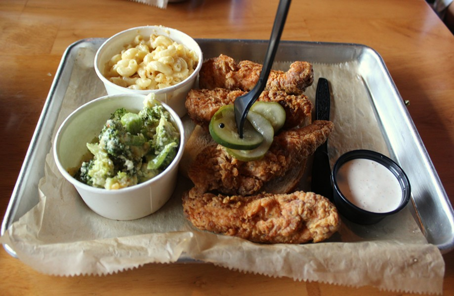 Broccoli casserole, macaroni and cheese casserole, chicken tenders and a side of ranch. - PHOTO BY LAUREN MILFORD