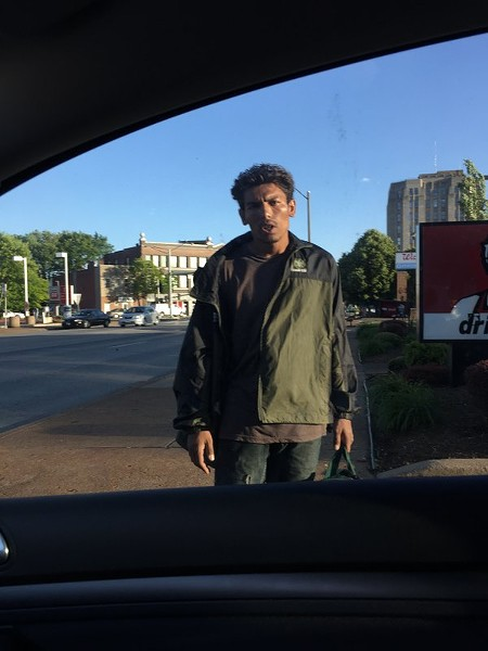 This man, shown in May, told motorists in a Taco Bell drive-thru he could fix dents in their cars, a witness says. - IMAGE VIA JULIAN KUSSMAN