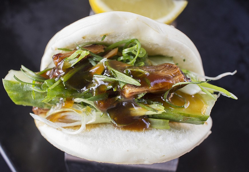 The braised pork belly bao. - PHOTO BY MABEL SUEN