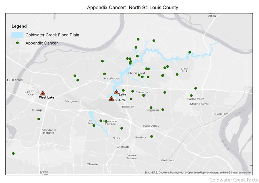 The number of rare appendix cancers reported by people in North County exceeds normal. - COLDWATER CREEK FACTS