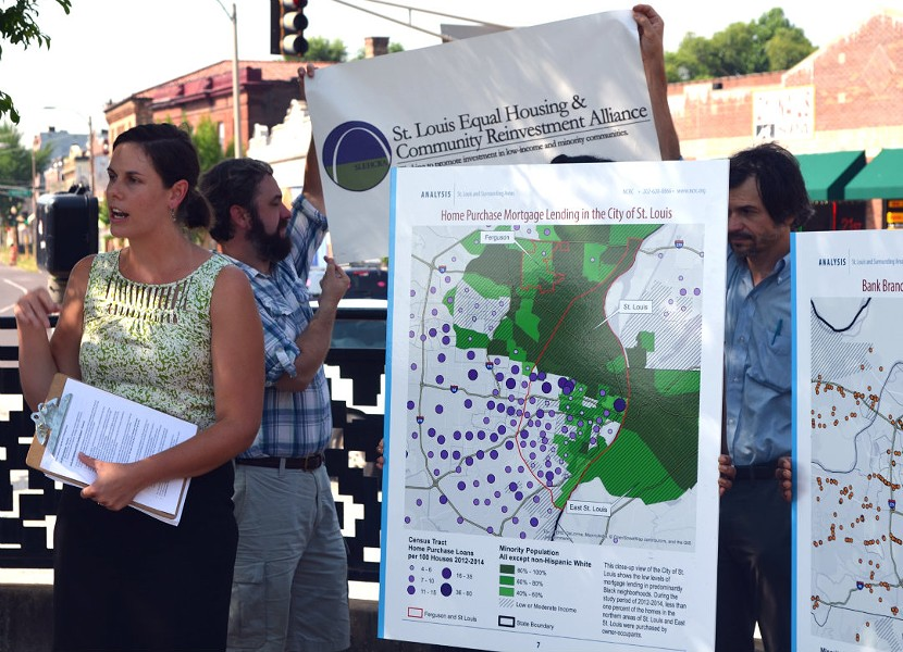 St. Louis Equal Housing and Reinvestment Alliance co-chair Elizabeth Risch explains the report's findings. - KAVAHN MANSOURI