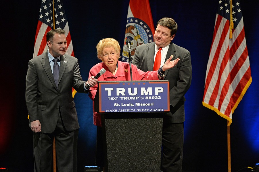 One of Phyllis Schlafly's last political acts was to welcome Donald Trump to St. Louis. Fuck you too. - GINO SANTA MARIA / SHUTTERSTOCK.COM