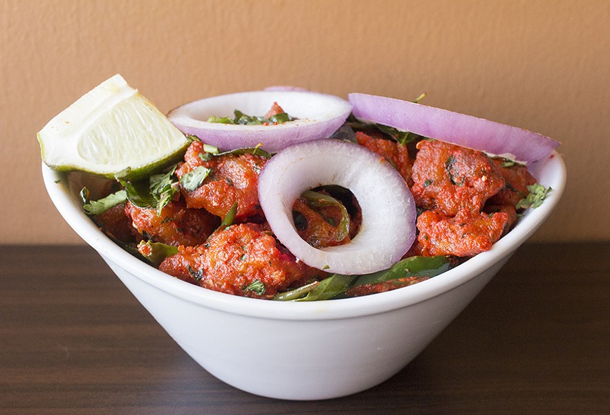 """Chicken 65,"" a spicy, deep-fried chicken dish marinated with yogurt, chilis and Indian spices. - PHOTO BY MABEL SUEN"