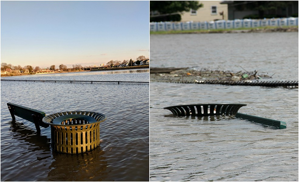 The Des Peres has flooded for months. The photo on the left was taken April 2. The one on the right was taken June 5. - DANNY WICENTOWSKI