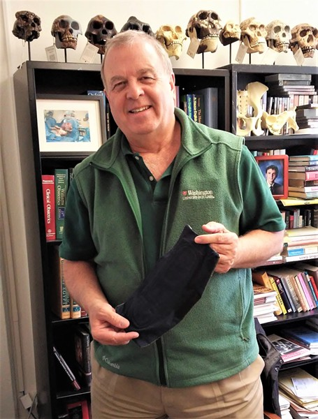 Dr. Lewis Wall with one of the reusable pads produced at Mariam Seba. - PHOTO: NICHOLAS FIERRO