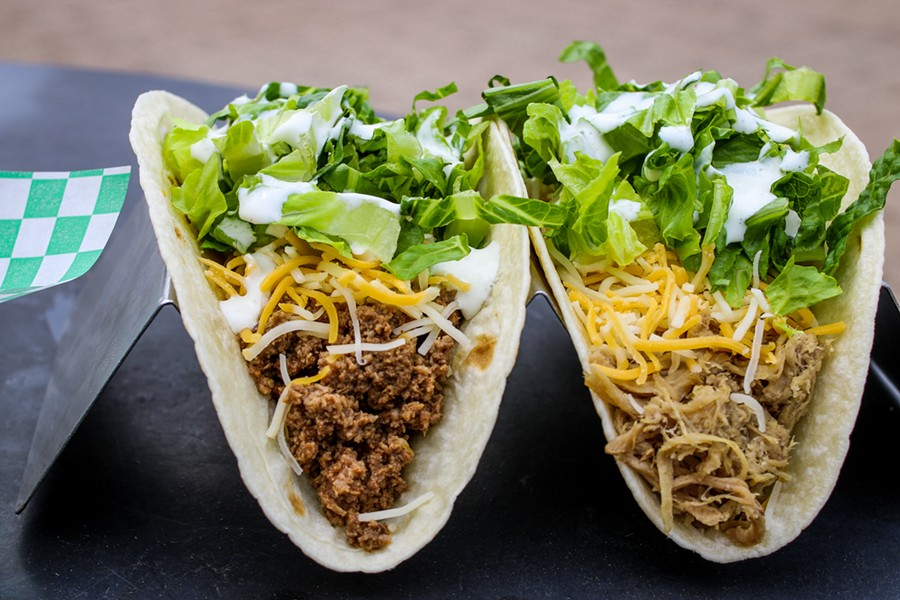 """The """"Number of the Beef""""  and """"Tito Puerco"""" are two of Rock Star Taco's offerings. - CHELSEA NEULING"""