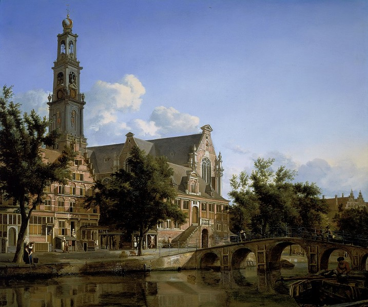 Jan van der Heyden, Dutch, 1637–1712, View of the Westerkerk, Amsterdam, about 1667–70. oil on panel. 21 × 25 1/4 inches. Promised gift of Rose-Marie and Eijk van Otterloo, in support of the Center for Netherlandish Art. Courtesy, Museum of Fine Arts, Boston.