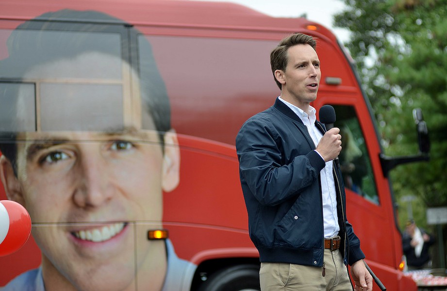Yes, that's a blue collar Josh Hawley is wearing in that blown-up picture of his face on a campaign bus. - TOM HELLAUER