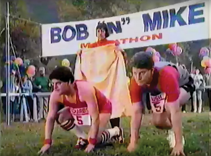 Goofy commercials, like this one with Mike Bush, endeared Bob Richards to viewers. - VIA YOUTUBE