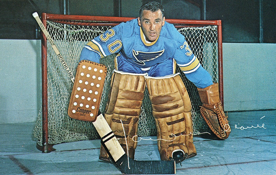 Jacques Plante won his seventh Vezina Trophy with the Blues in 1968 as part of tandem with Glenn Hall. - COURTESY OF MISSOURI HISTORY MUSEUM