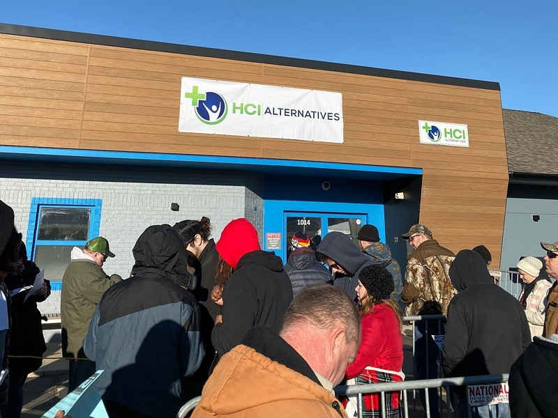 Hundreds lined up to get into a Metro East dispensary. Missouri's dispensaries are months from opening. - LIZ MILLER
