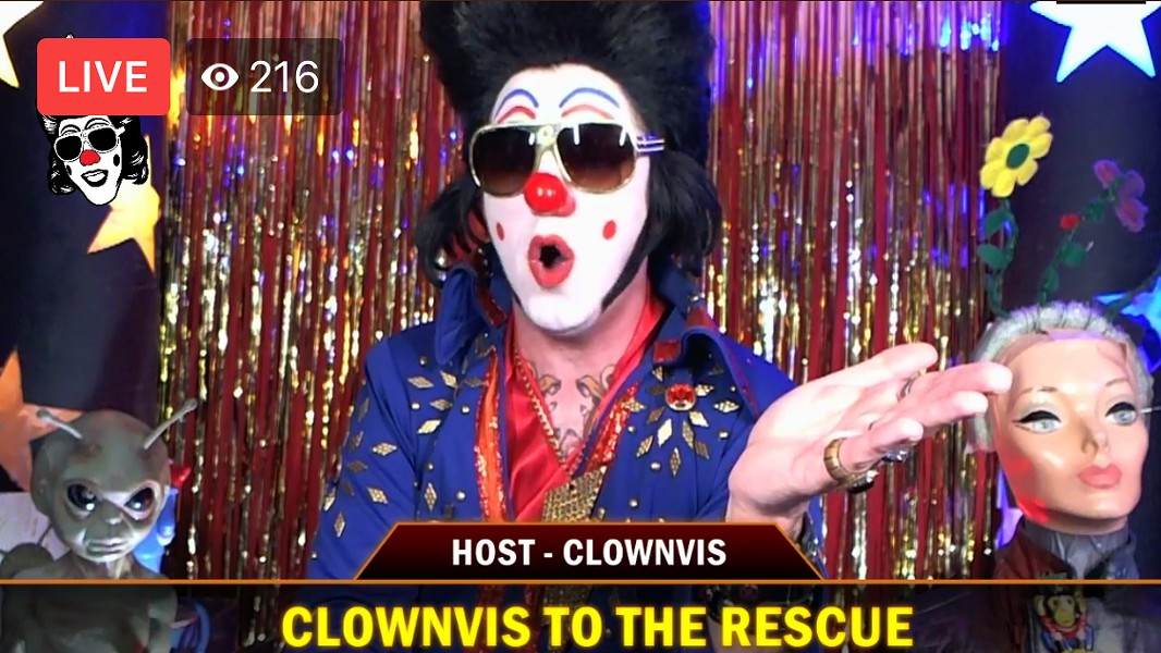 Clownvis with a couple of his co-hosts - SCREENGRAB FROM FACEBOOK