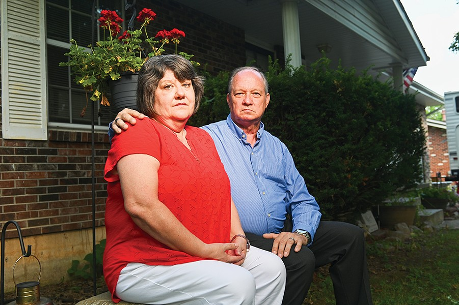 "Waking up Laurie, Billy Ames's mother, left, to tell her that her son died in the St. Francois County Jail was ""the most difficult thing I've ever had to tell anybody in my life,"" said Joe Braun, Billy's stepdad. - MICHAEL THOMAS FOR THE MARSHALL PROJECT"