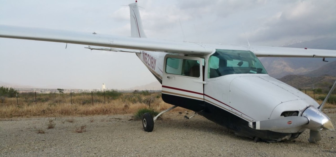 A photo of Furman's damaged plane, post-landing, included in the FAA investigation of the incident. - NATIONAL TRANSPORTATION SAFETY BOARD