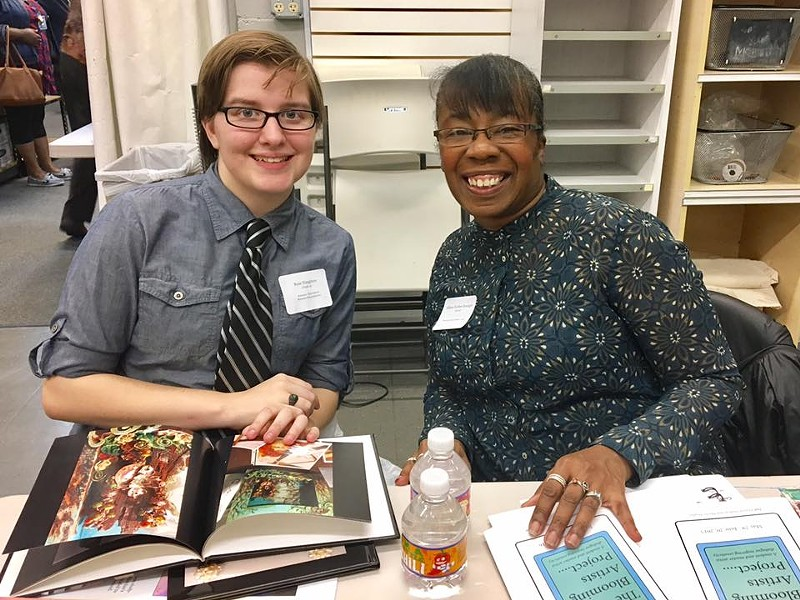 Mixed media jewelry artist Allison Norfleet Bruenger meets with her student, Rose Houghton, at interview night. Houghton is a twelfth grader from Ritenour High School. - COURTESY OF THE BLOOMING ARTISTS PROJECT