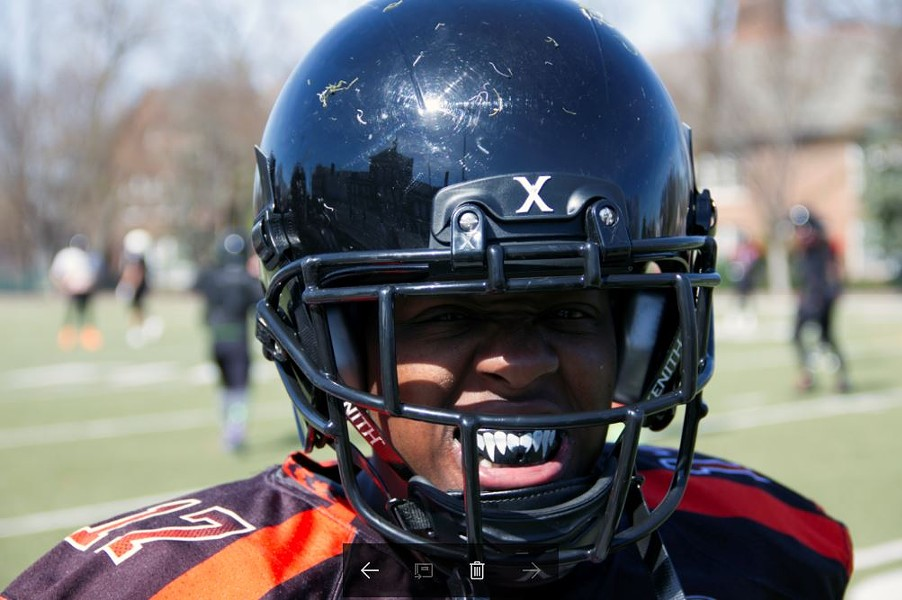 Slam linebacker Raven Williams shows off her game face during a scrimmage in March. - PHOTO BY DANNY WICENTOWSKI