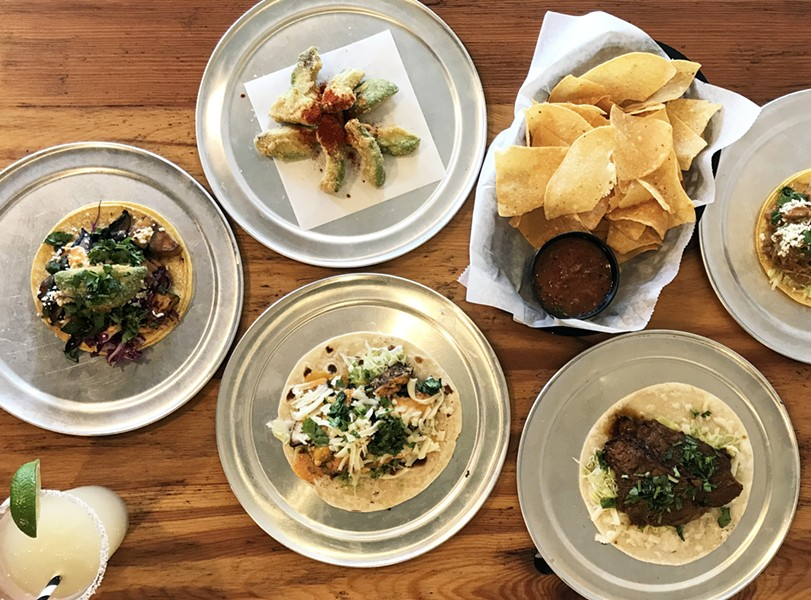 TACOS, FRIED AVOCADO, CHIPS AND SALSA AND A MARGARITA AT TACO BUDDHA | SARA GRAHAM