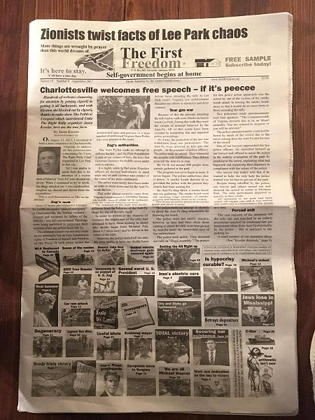 "The front page of the publication features an editorial by Jason Kessler, one of the organizers of the ""Unite the Right"" rally. You can see a larger version of this page here."